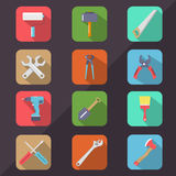 Hardware Tools Flat Icon Long Shadow Royalty Free Stock Photography