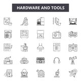 Hardware and tools line icons for web and mobile design. Editable stroke signs. Hardware and tools outline concept. Hardware and tools line icons for web and royalty free illustration