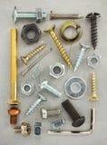 Hardware tools at metal background Stock Image