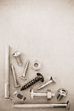 Hardware tools at metal background Stock Images