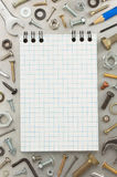 Hardware tools and notebook Royalty Free Stock Photo