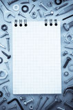 Hardware tools and notebook Royalty Free Stock Photos