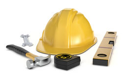 Hardware tools and safety helmet. One safety helmet and work tools on white background (3d render stock illustration