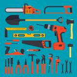 Hardware tools set. Flat hardware tools set on a blue background Royalty Free Stock Photo