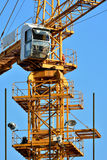 Hardware of tower crane. In construction, shown as architecture construction and working environment and equipment Stock Images