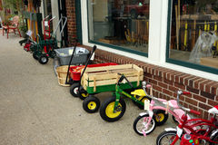 Hardware and toys outside a shop in floyd, virginia. Royalty Free Stock Photography