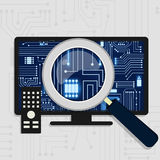 Hardware of tv. Magnifying glass enlarging the electronic circuit on the tv monitor. Showing the television board stock illustration