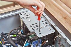 Hardwareinstallatie en verbeteringen van bureaucomputer stock afbeeldingen