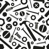 Hardwareschroeven en spijkers met hulpmiddelen naadloos patroon Stock Afbeeldingen