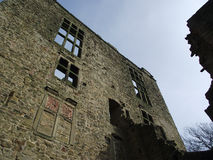 Hardwick, céu azul, construção velha, Derbyshire, janelas da ligação Imagens de Stock