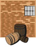 Hardwood barrels in a cellar Stock Image