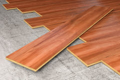 Hardwood covering floor 3D rendering Stock Image