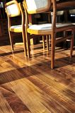 Hardwood floor. Hardwood walnut floor in residential home dining room Stock Images