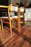 Hardwood floor. Hardwood walnut floor in residential home dining room Royalty Free Stock Photography