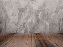 Hardwood floor and concrete wall texture Royalty Free Stock Photography