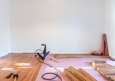 Hardwood floor installation Royalty Free Stock Photo