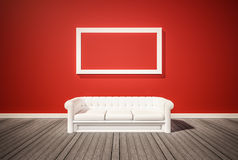 Hardwood floor and red wall, with red couch, 3d rendered Royalty Free Stock Image
