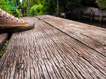 Hardwood floor texture of canal terrace Stock Photos