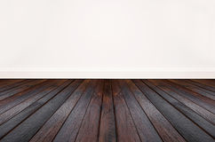 Hardwood floor and white wall. Living room space Royalty Free Stock Photo
