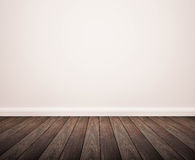 Hardwood floor with white wall Stock Images
