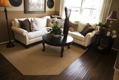 Hardwood Flooring in Living Room. Of model home Stock Photo