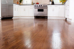 Hardwood floors. In a new gourmet kitchen stock photo