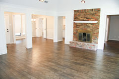 Hardwood Floors with Fireplace. Hardwood flooring with fireplace Royalty Free Stock Photos