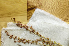 Hardwood hickory boards millet grains stems cloth Stock Photography