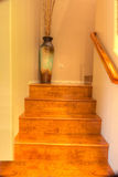 Hardwood stairs with recessed lighting Stock Images