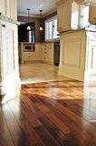 Hardwood  and tile floor. Hardwood and tile floor in residential home kitchen and dining room Stock Image