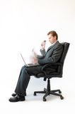 Hardworking businessman performing a few steps. Royalty Free Stock Photo