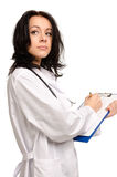 Hardworking female nurse or doctor Stock Photo