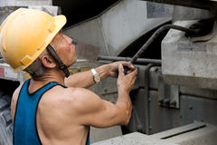 Hardworking laborer. On construction site Stock Images