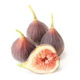 Hardy Chicago figs. Whole and cross-section Hardy Chicago figs on white background royalty free stock photos