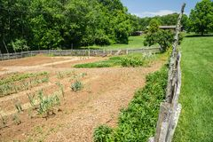 Booker T. Washington National Monument - Vegetable Garden 2. Hardy, VA – May 6th: The vegetable garden located on the ground of the Booker T. Washington royalty free stock image