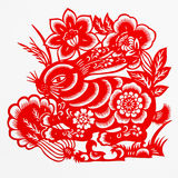 Hare. This paper-cut shows the hare, is one of the Chinese Zodiac Stock Image