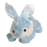 Hare. Lying blue teddy hare isolated over white Stock Photos