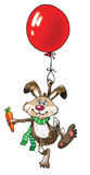 Hare balloon flies tricky funny Royalty Free Stock Image