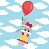 Hare with balloon in sky. With clouds Stock Photography