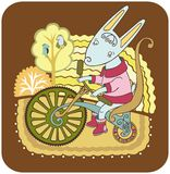 Hare on a bike Royalty Free Stock Photos