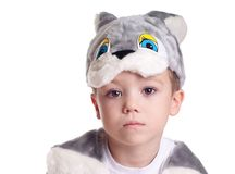 Hare boy. Close-up portrait of small boy in hare costume isolated on white background Stock Photography