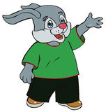 Hare in bright clothes Royalty Free Stock Images