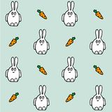 Hare with carrot. Seamless vector pattern. Hand drawing texture stock illustration