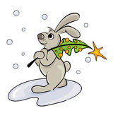 Hare with the Christmas tree. Vector illustration -- Hare with the Christmas tree Royalty Free Stock Images