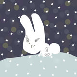 Hare circuit. Hare loop, bunny sitting in the snow, snowing Royalty Free Stock Image