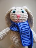 Crochet hare. Hand made toy. stock image