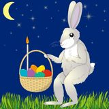 Hare with Easter basket. Hare with an Easter basket against the starry sky, vector illustration Royalty Free Stock Images