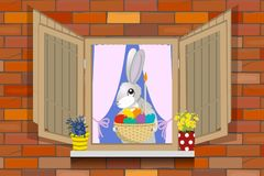Hare in window of house. Hare with an Easter basket in the window of the house, vector illustration Stock Photos