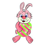 Hare vector character with easter egg Stock Photography