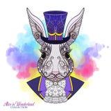 Hare eller kanin i hatten från sagan Alice i Wonderla vektor illustrationer